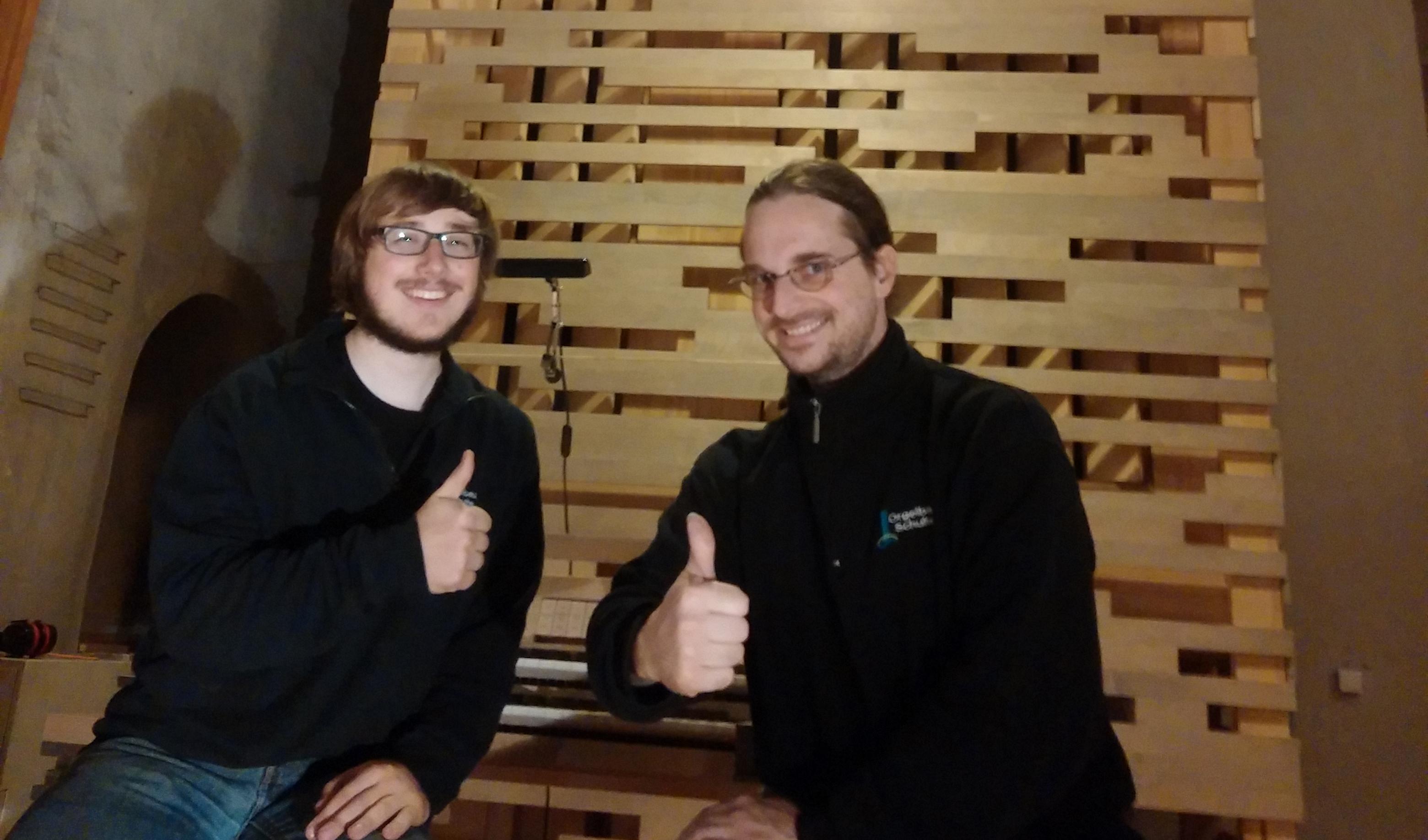 John Miller und Oliver Schulte vor der Schulte Orgel in Dortmund St. Petri